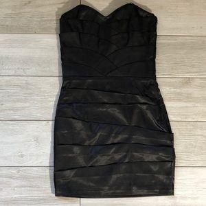 NWOT Satin Sheer glossy stretch tube top dress bk